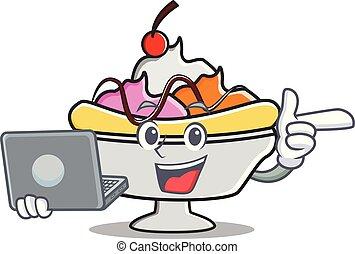 With laptop banana split character cartoon vector...