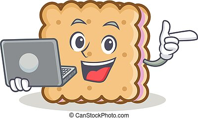 With laptop biscuit cartoon character style