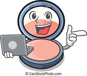 With laptop blush on a cartoon makeup bag