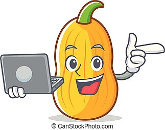 With laptop butternut squash character cartoon vector...
