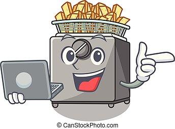 With laptop cartoon deep fryer in the kitchen vector...