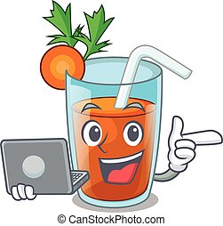 With laptop character healthy carrot smoothie for diet