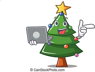 With laptop Christmas tree character cartoon