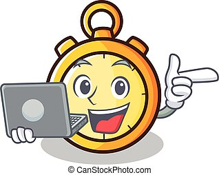 With laptop chronometer character cartoon style