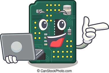 With laptop circuit board pcb isolated with mascot vector...