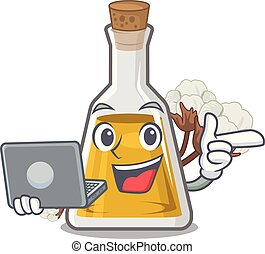 With laptop cottonseed oil in a mascot bottle vector ...
