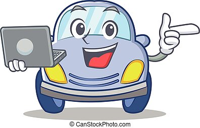With laptop cute car character cartoon vector illustration