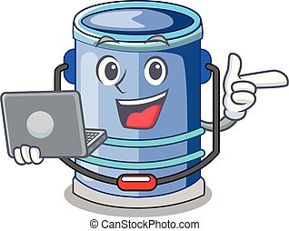 With laptop cylinder bucket Cartoon of for liquid
