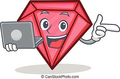 With laptop diamond character cartoon style