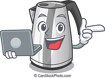With laptop electric stainless steel kettle on character