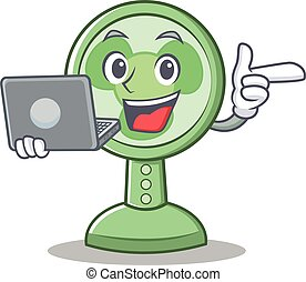 With laptop fan character cartoon style