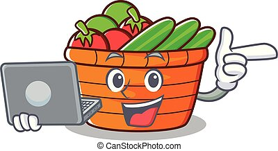 With laptop fruit basket character cartoon