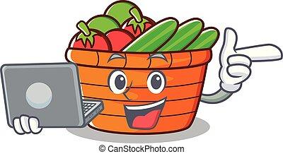 With laptop fruit basket character cartoon
