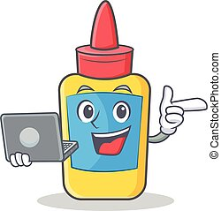 With laptop glue bottle character cartoon