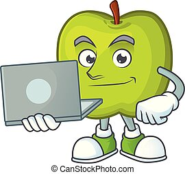 With laptop granny smith in a green apple character mascot