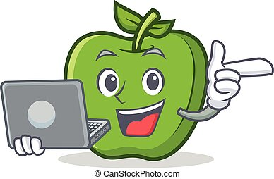 With laptop green apple character cartoon