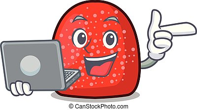 With laptop gumdrop character cartoon style