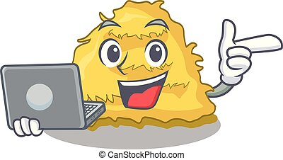 With laptop hay bale character cartoon