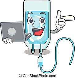 With laptop infussion bottle character cartoon