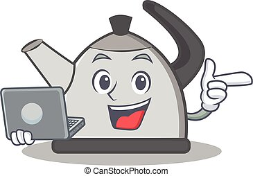 With laptop kettle character cartoon style vector...