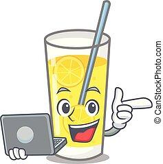 With laptop lemonade character cartoon style