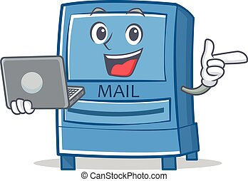 With laptop mailbox character cartoon style
