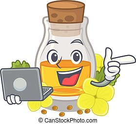 With laptop mustard oil packaged in carton bottle