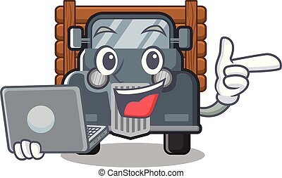 With laptop old truck isolated in the cartoon