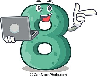 With laptop raster version cartoon shaped Number Eight