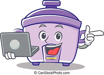With laptop rice cooker character cartoon