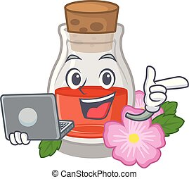 With laptop rosehip seed oil in cartoon bottle vector ...