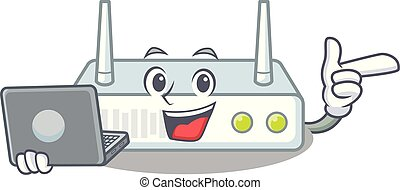 With laptop router in the a character shape vector...