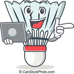 With laptop shuttlecock character cartoon vector
