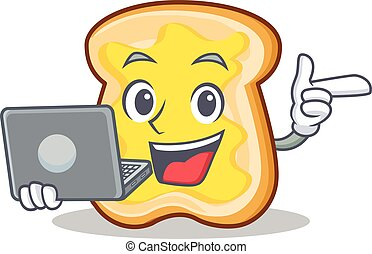 With laptop slice bread cartoon character vector art...