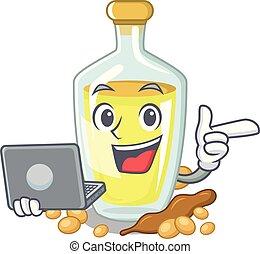 With laptop soybean oil put in cartoon bottle