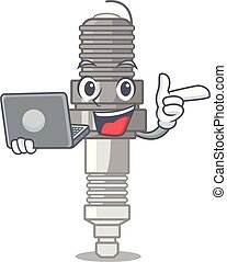 With laptop spark plug in the character shape