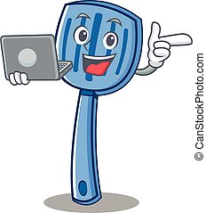 With laptop spatula character cartoon style
