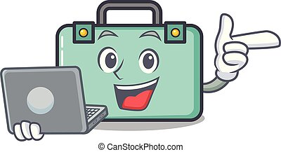 With laptop suitcase character cartoon style