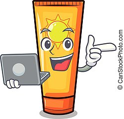 With laptop sun cream in the mascot shape vector...