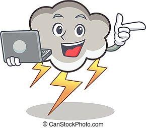 With laptop thunder cloud character cartoon