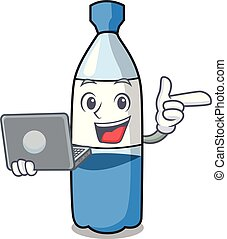 With laptop water bottle character cartoon