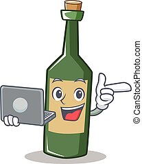 With laptop wine bottle character cartoon