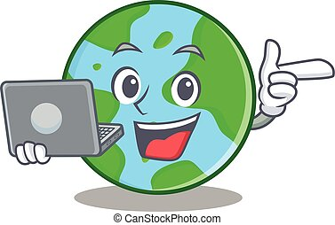 With laptop world globe character cartoon