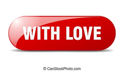 with love button. sticker. banner. rounded glass sign