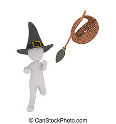 with mask and witch costume on halloween