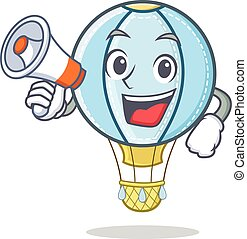 With megaphone air balloon character cartoon