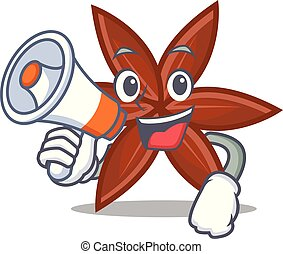With megaphone anise character cartoon style