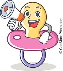 With megaphone baby pacifier character cartoon
