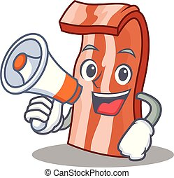 With megaphone bacon character cartoon style vector...