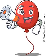 With megaphone balloon character cartoon style